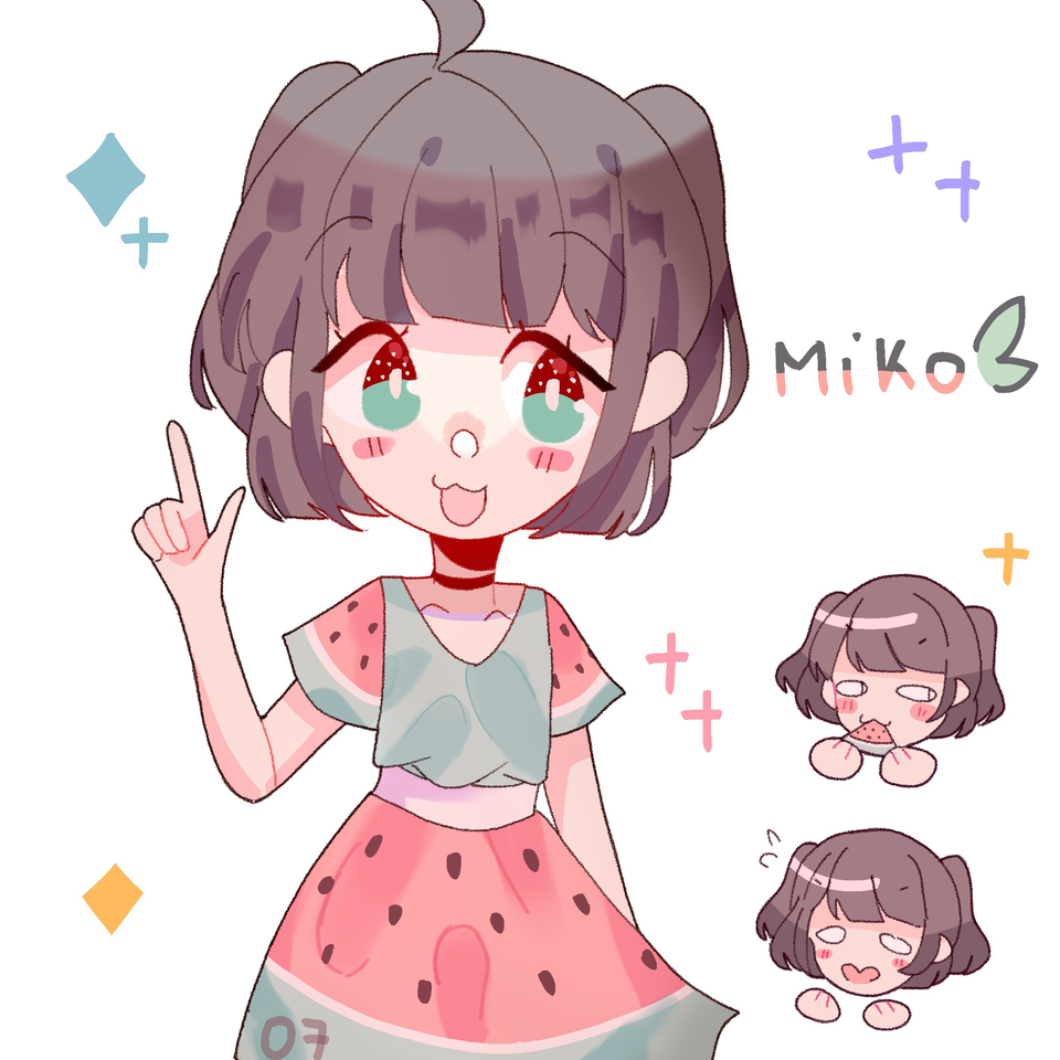 adopt from anonymouse! Illust of pErSon medibangpaint girl oc cute watermelon