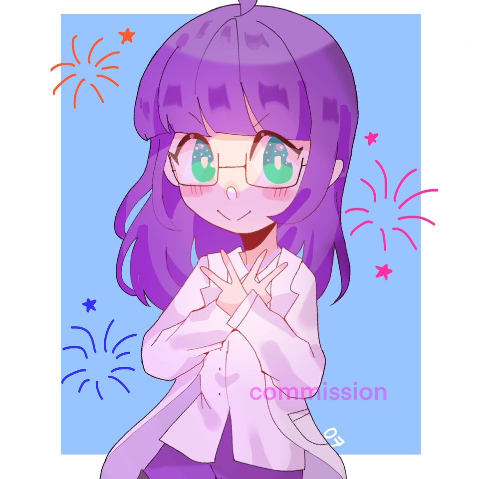 another commission  Illust of pErSon medibangpaint girl purple cute
