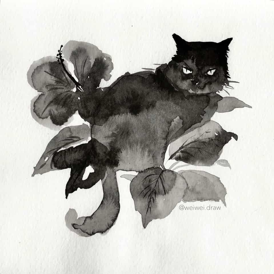 Midnight Watcher Illust of Wei Wei.draw DOGvsCAT_CAT 墨 cat ink