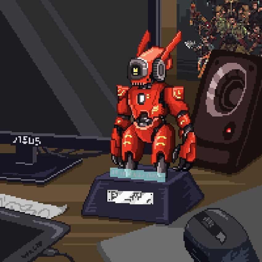 Robot figture Illust of 菇比特 art fanart pixelartist pixelart digital illustration instagood retro artist