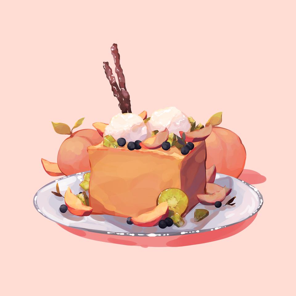 Thicc French Toast with sliced peaches Illust of Mumechi food illustration peaches art iPad_raffle