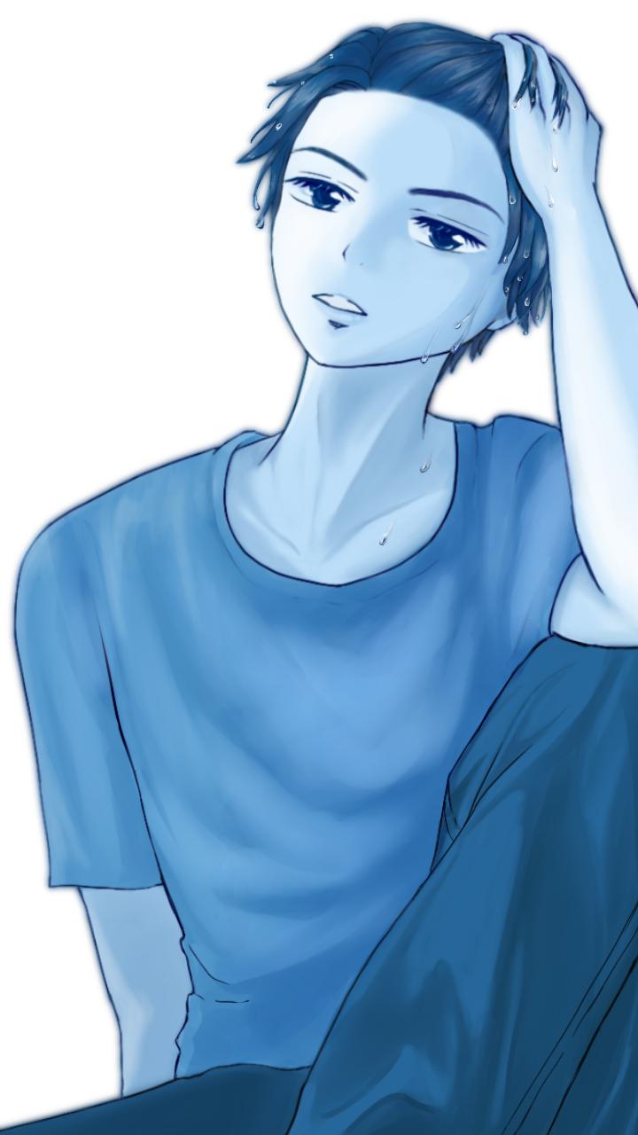 モノクロ Illust of chiwo May2021_Monochrome oc blue handsome monochrome original おとこのこ