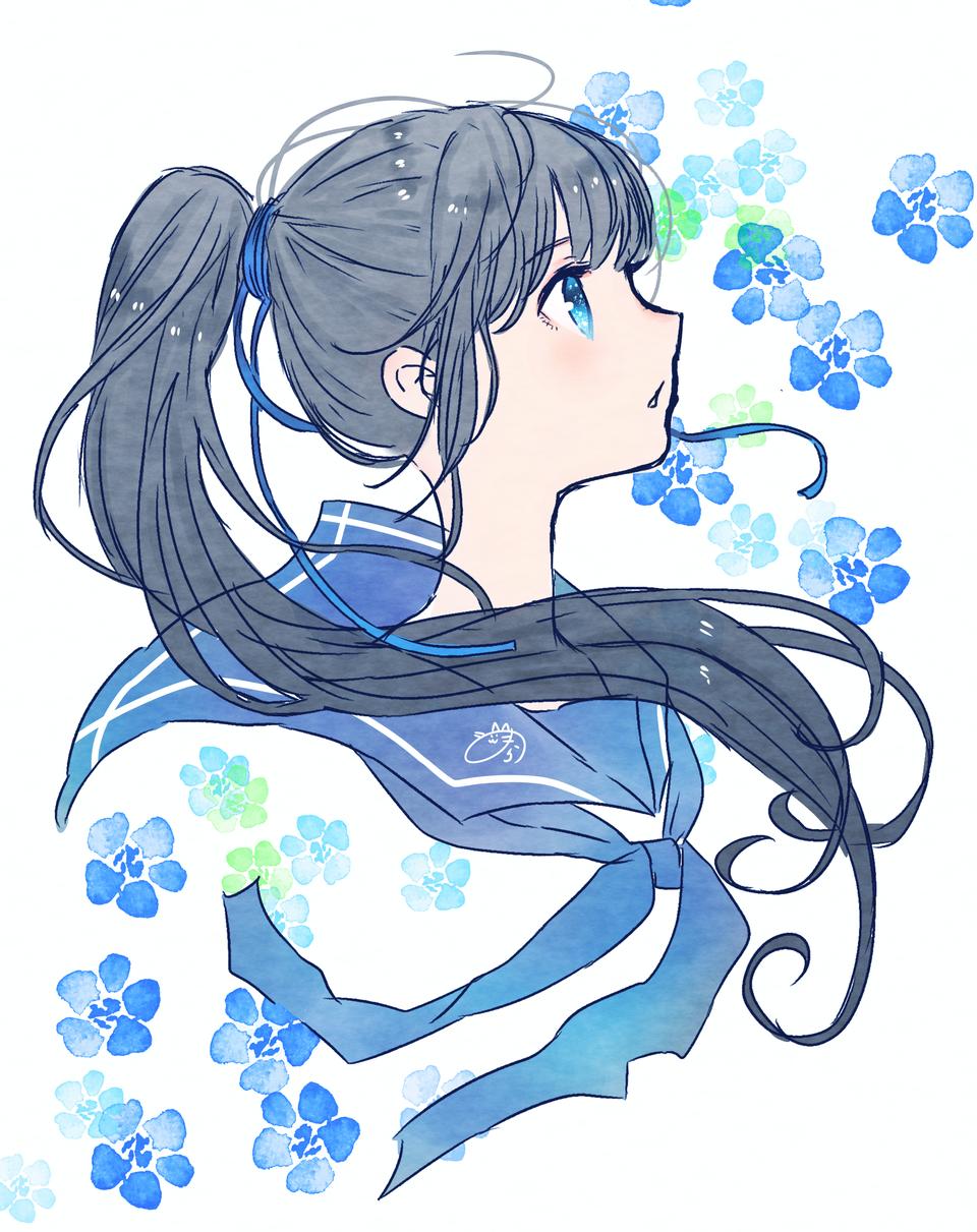 青春と夏 Illust of nora original 横顔 レッツワンドロ flower medibangpaint girl 女子高生診断 ponytail