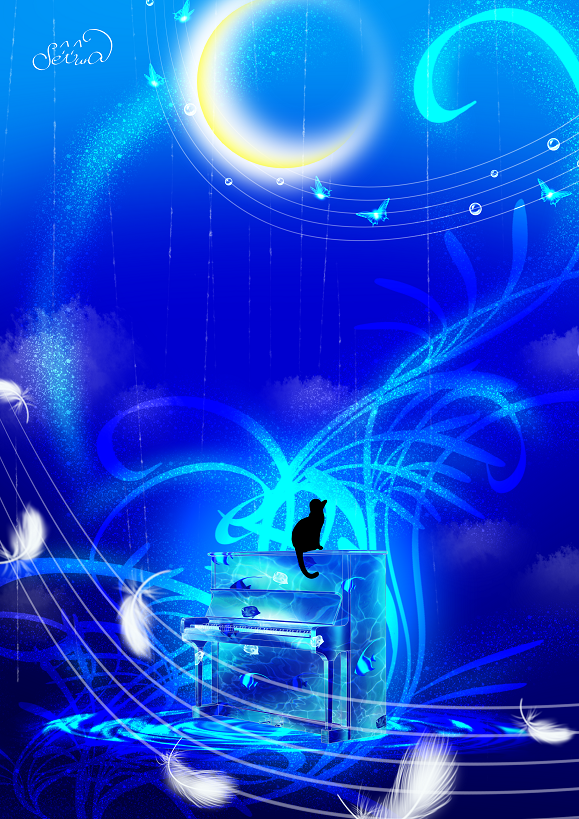 ソラノオト Illust of せつら ARTstreet_Ranking April.2020Contest:Color butterfly 羽 幻想的 音符 oc moon piano fish