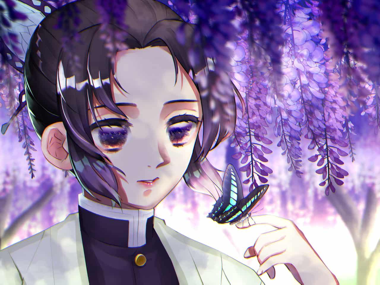 胡蝶しのぶ Illust of アメダ DemonSlayerFanartContest KochouShinobu butterfly 藤の花 KimetsunoYaiba