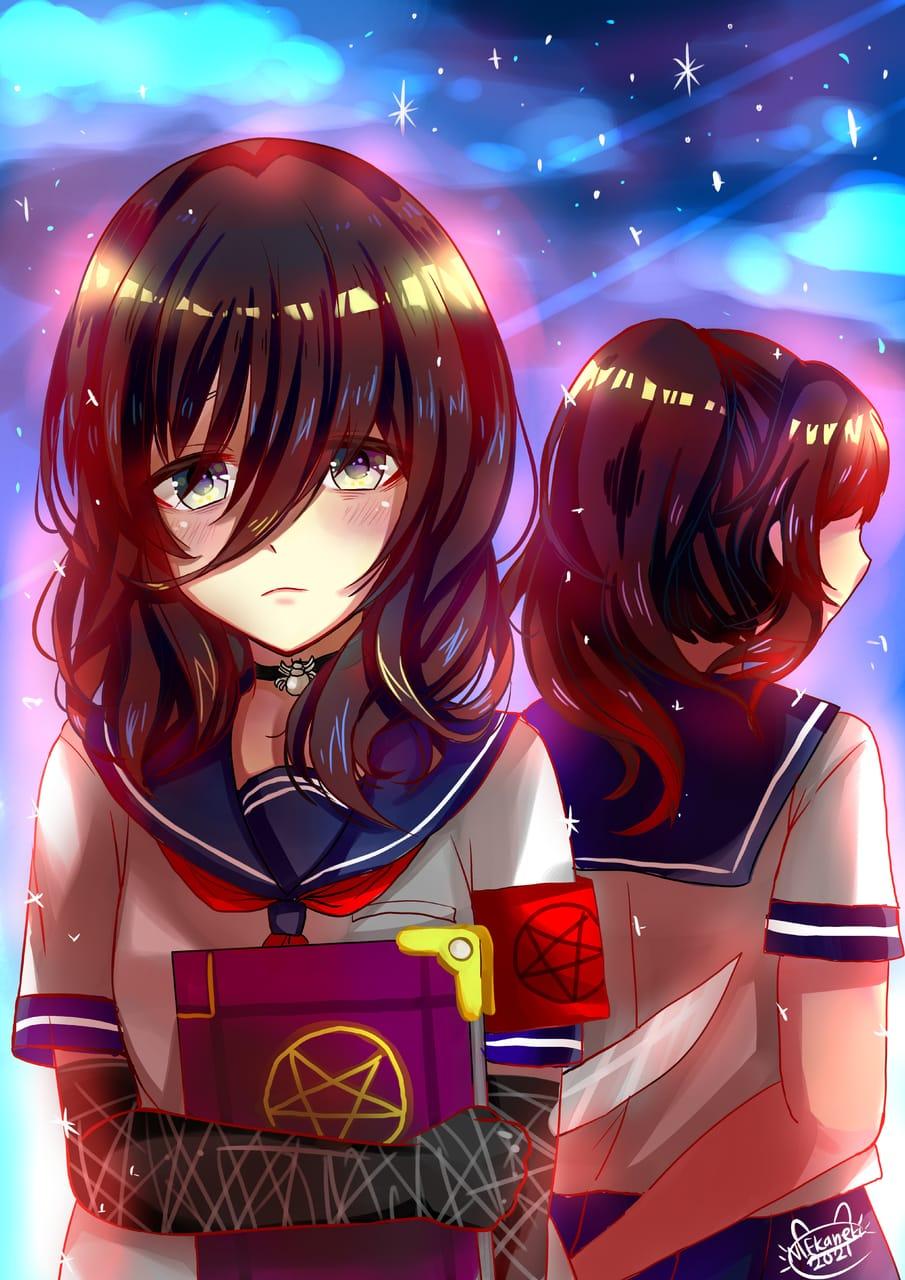 Lonely girl night, Oka and Ayano Illust of NIFKaneki art YandereSimulatorFanArtContest nightsky ayanoashi okaruto