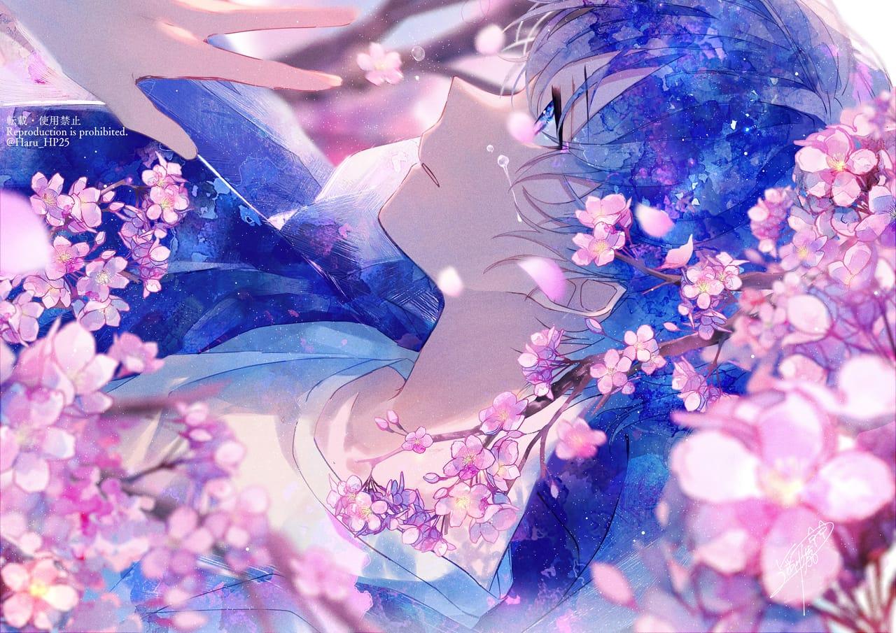 徒花 Illust of 遥川遊 April2021_Flower watercolor blue oc original sakura オリジナル創作 boy