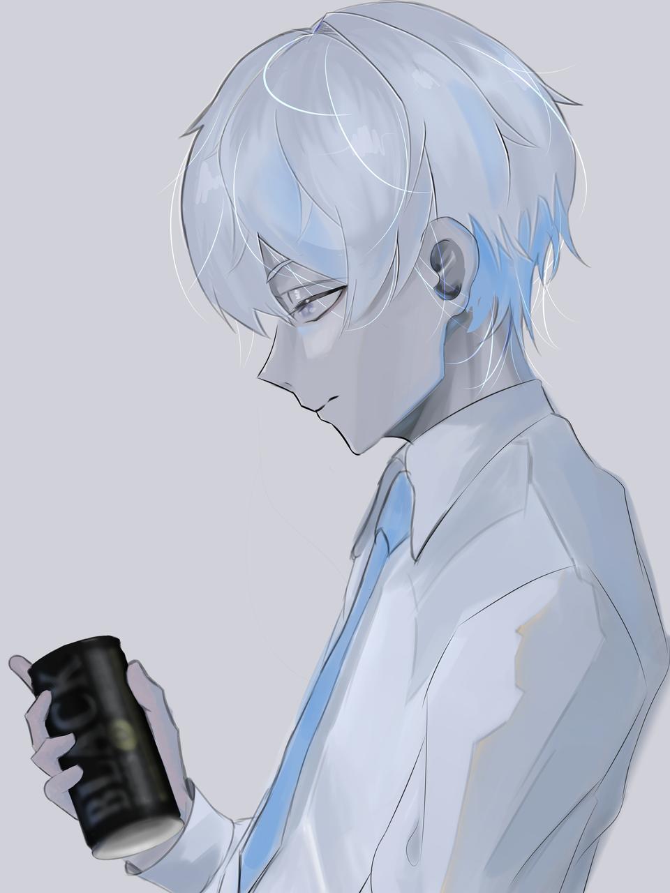 Kurai Okura Illust of ンリデエ detective boy uniform lowsaturation coffee oc original white