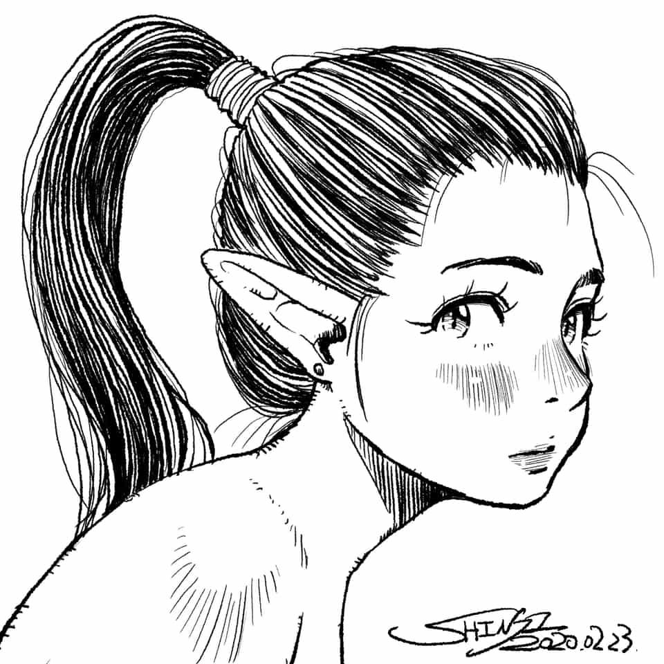 ELFさん Illust of シン original girl elf line_art oc