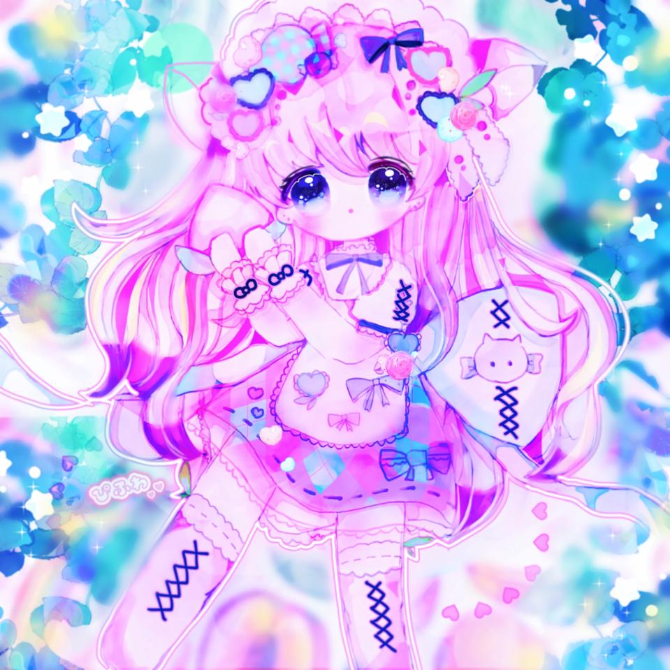 candy peach🍑☁️🍬 Illust of ぴふわ original デフォルメ ちびキャラ oc girl ゆめかわいい