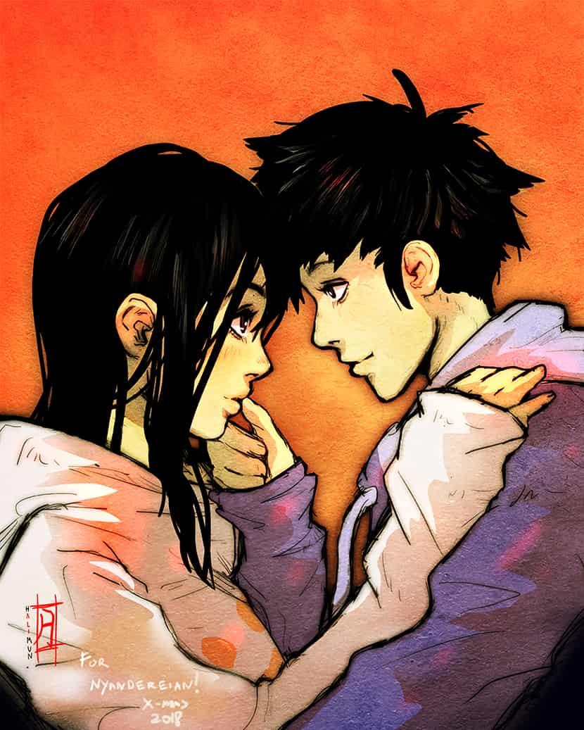 Secret santa gift for Nyandereian Illust of halimunali secretsanta anime gift couple