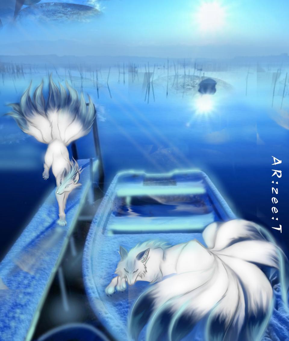 In the Full Moon Illust of Ar:Zee:T September2020_Contest:Furry medibangpaint blue fox tail
