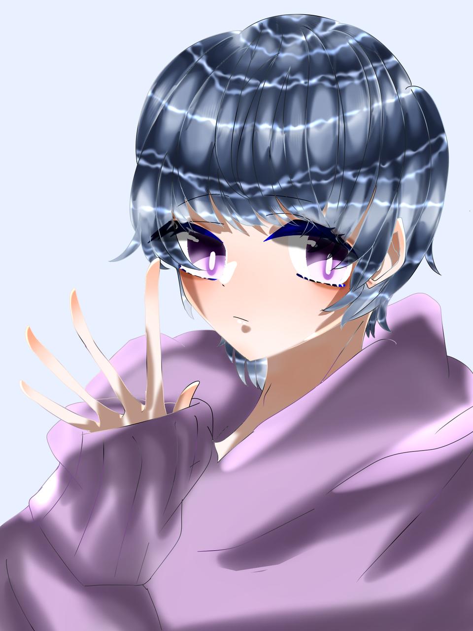 男の子 Illust of 如月来蕾≮TRPG≯ medibangpaint 水色 purple boy hoodie oc