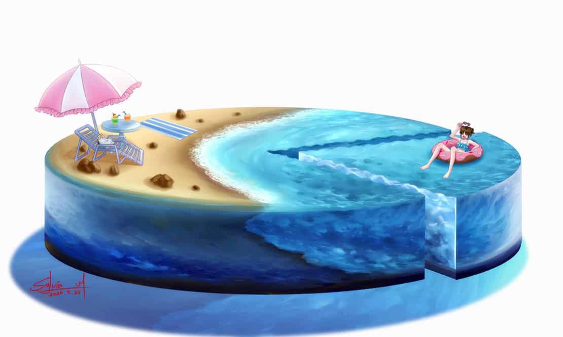 夏のケーキ Illust of 厨二兎Sylvia_M May.2020Contest:Cheering April.2020Contest:Color ARTstreet_Ranking 青色 girl sea summer 島