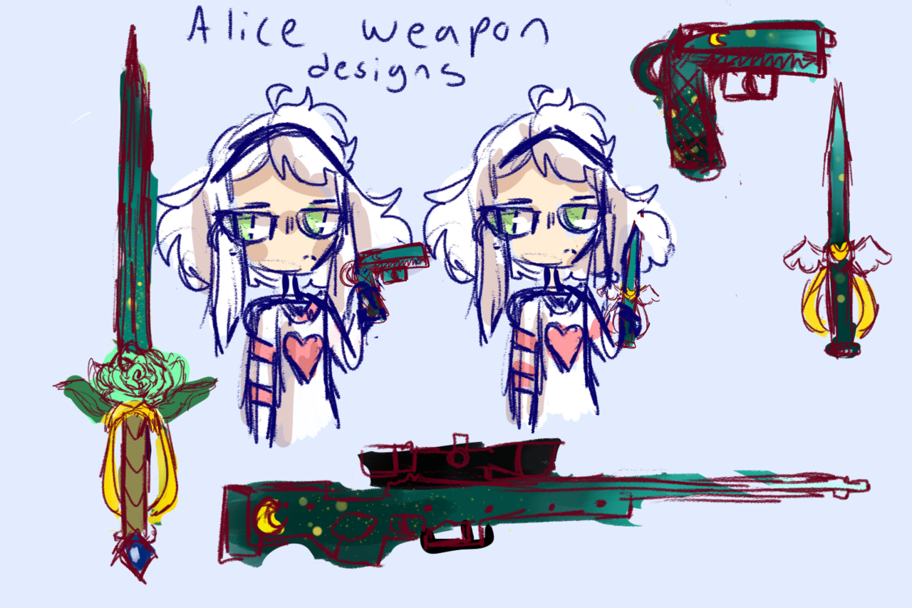 Alice sword design  Illust of boiledsunflowers art characterdesign CLIPSTUDIOPAINT design medibangpaint anime sketch weapon oc manga