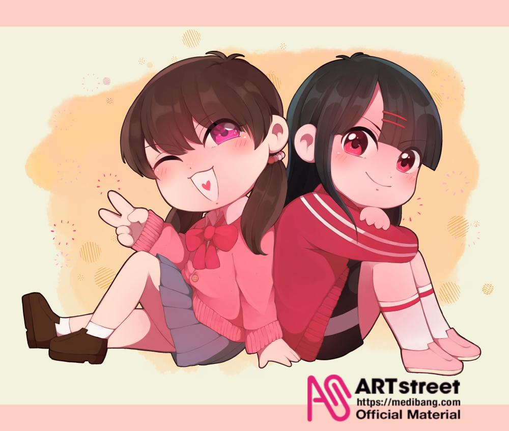 女の子2人 Illust of 桜庭 tracedrawing4th original girl oc オリジナルキャラ