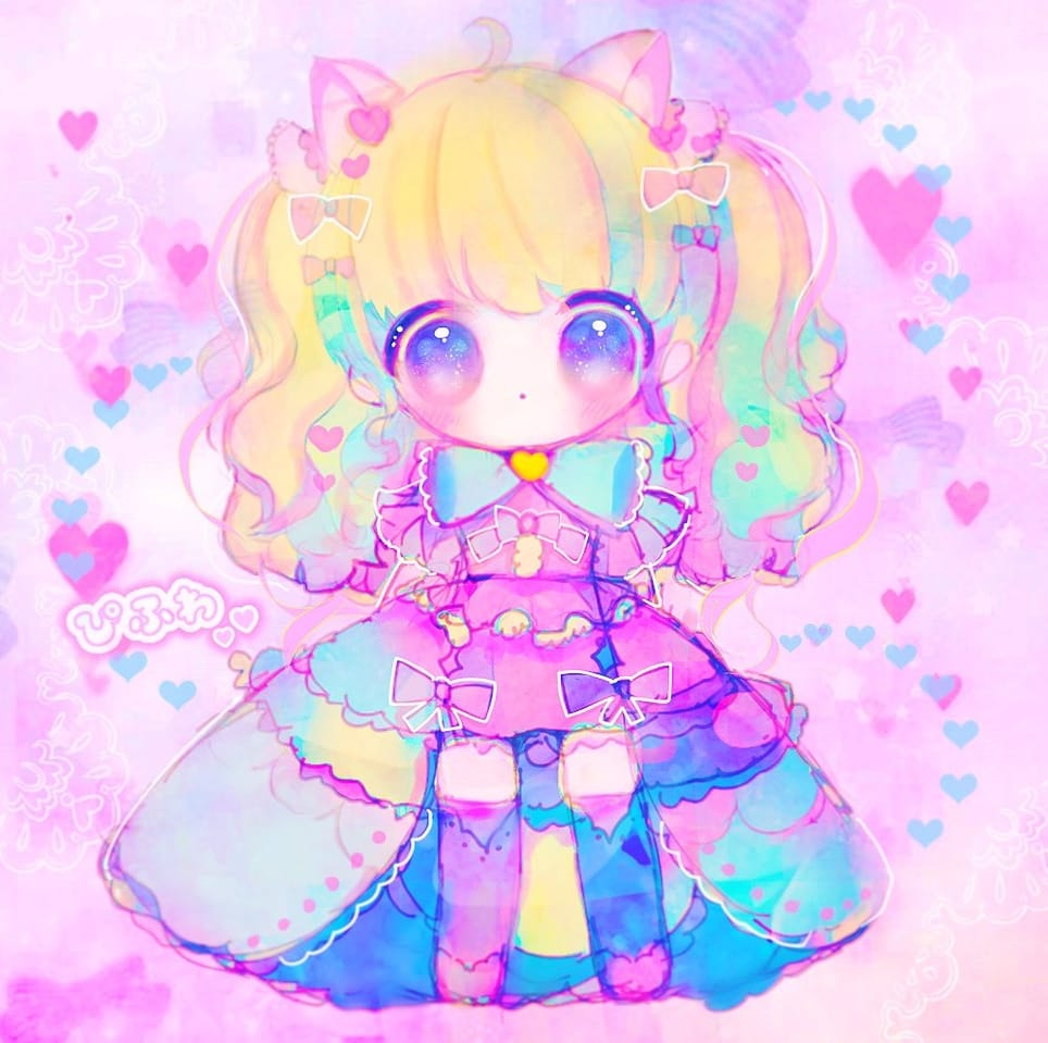 ♡✨♡✨ Illust of ぴふわ girl デフォルメ ちびキャラ oc original twin_ponytails ゆめかわいい ロリータ