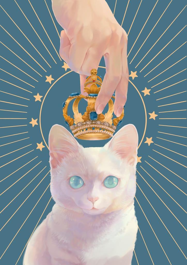 ねこの日 Illust of 砂虫隼 生き物 animal crown キラキラ original cat star medibangpaint