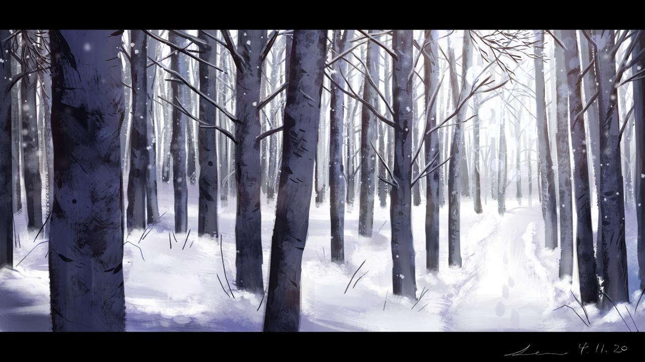Stillness Illust of 星灯れぬ snow forest 風景画 winter original scenery