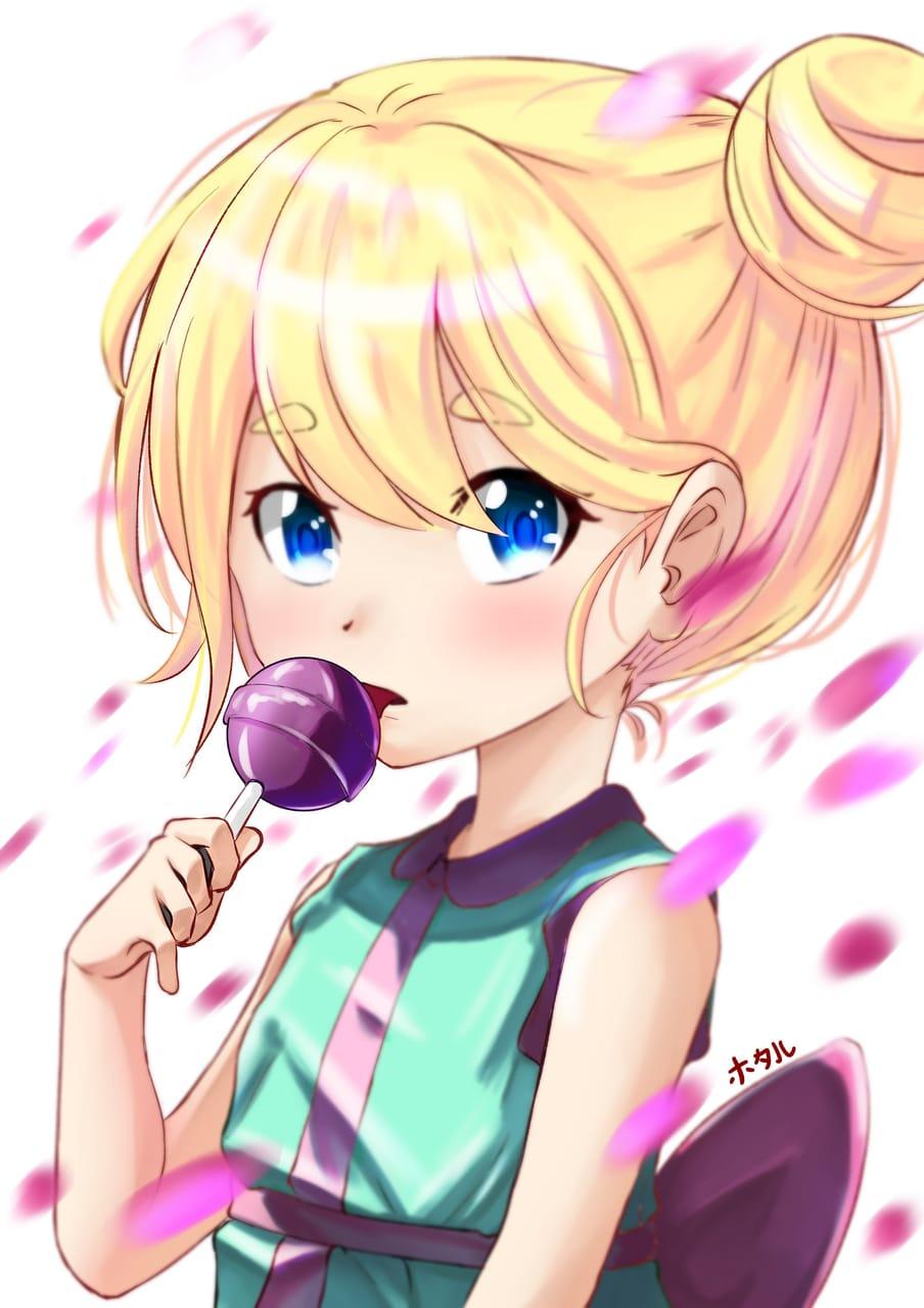 lollipop Illust of 蛍Fireflyほたる loli girl petals oc Lollipop