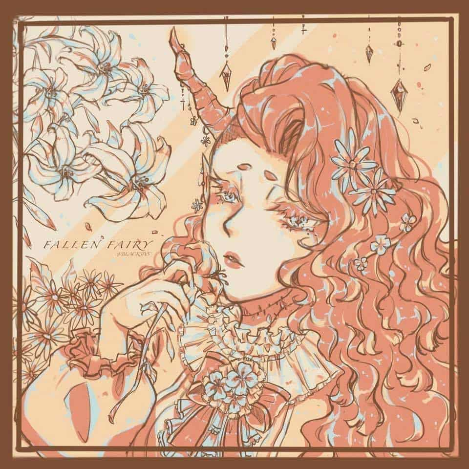 Fallen fairy  Illust of 阿孟 April.2020Contest:Color art girl 色票 original illustration flower