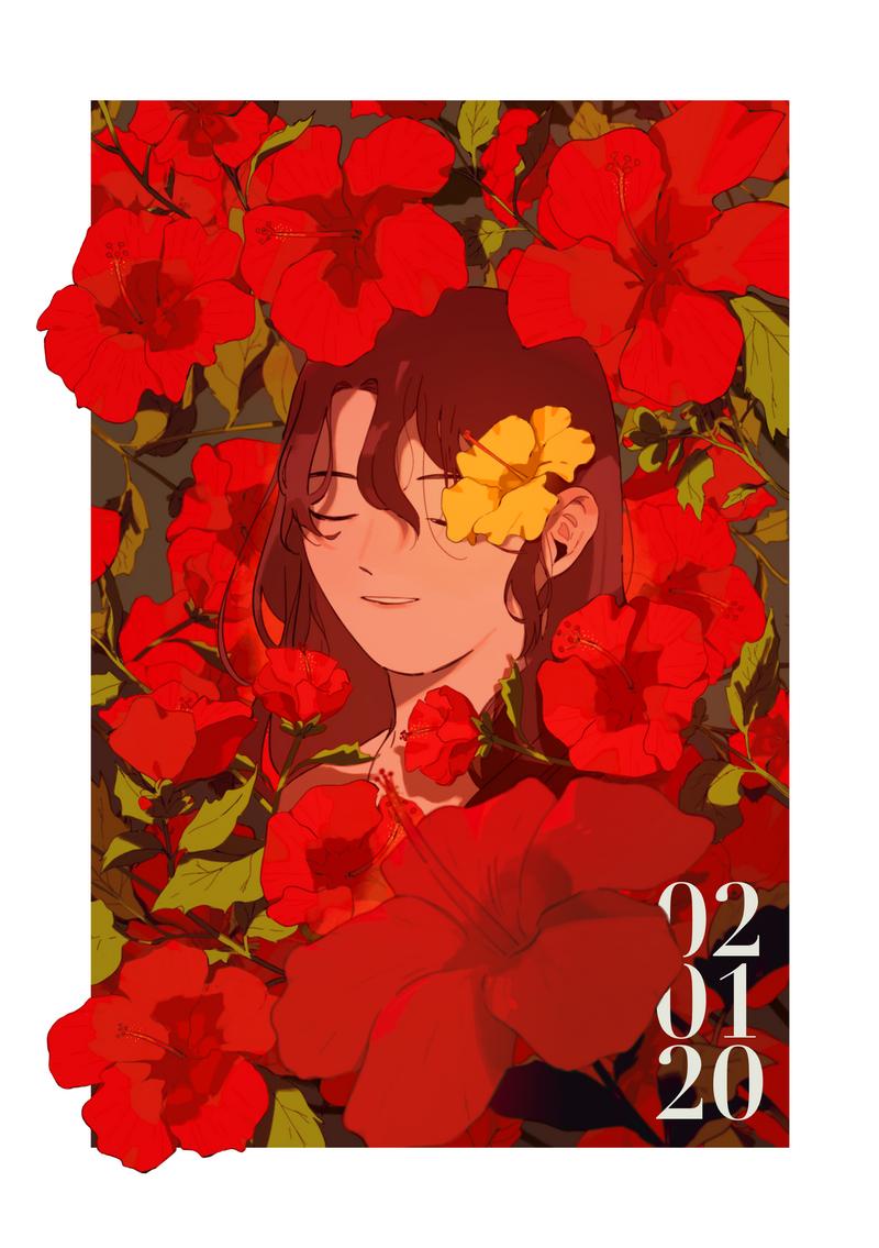 Hibiscuses Illust of naruysae art girl flower anime illustration animation original