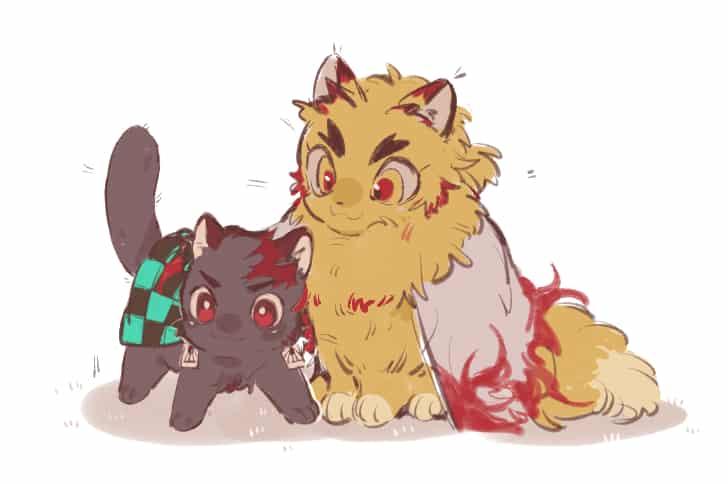 Illust of sayori DOGvsCAT_CAT KimetsunoYaiba 獣化 KamadoTanjirou 猫化 RengokuKyoujurou