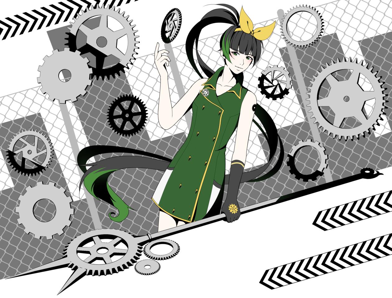 Ivy Illust of Bee 48 greeneyes gears girl weapon oc manga original blackhair gear digital