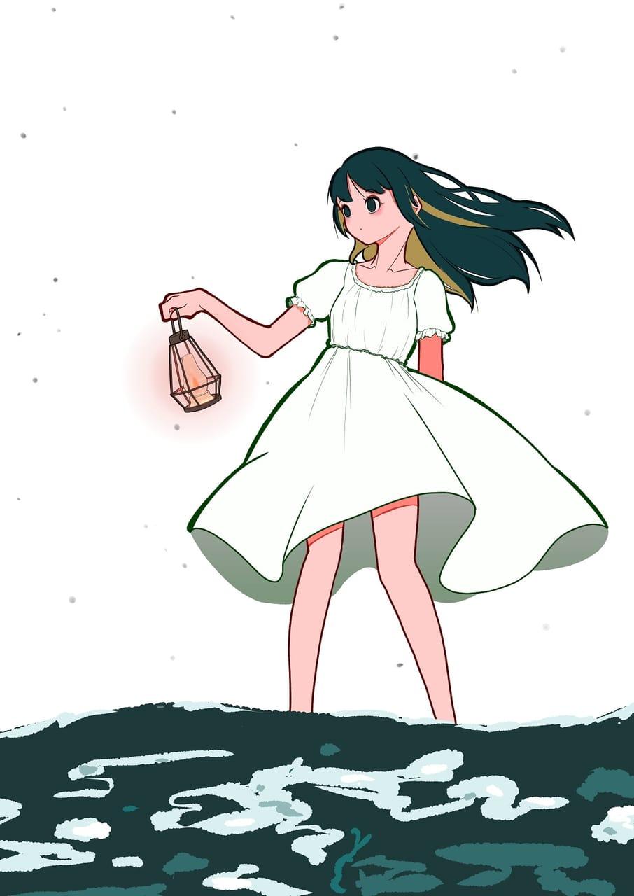 白夜の海をゆく Illust of いもぐるてん sea girl oc