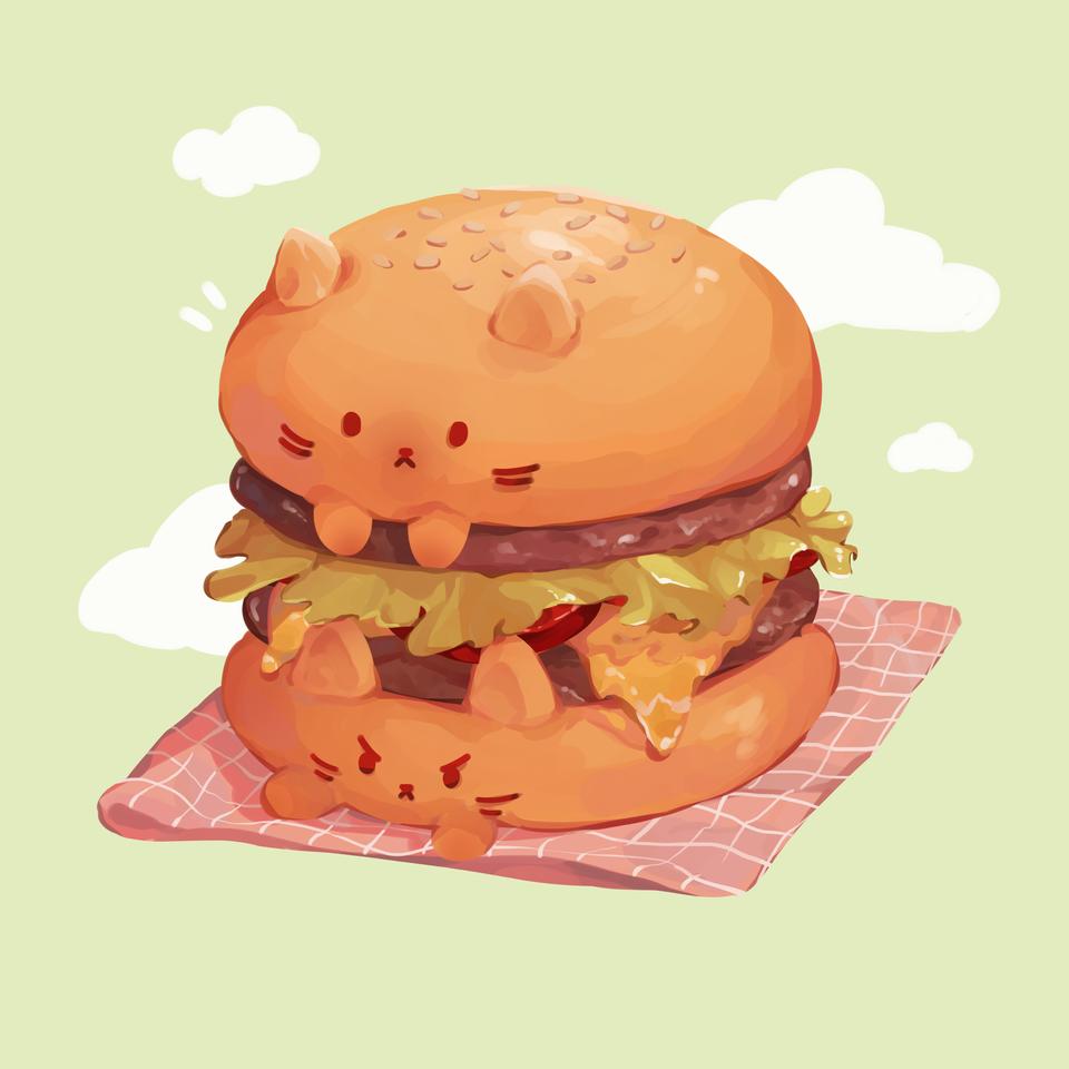 Cat Burger =^owo^= Illust of Mumechi anime iPad_raffle cat food orange original illustration burger green cute