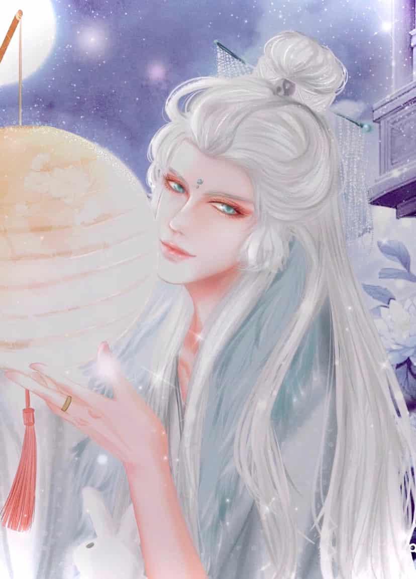 月下映照温柔的你 Illust of Gigi Yip MyIdealWaifu_MyIdealHusbandoContest MyIdealHusbando medibangpaint moon white_hair 古风 illustration 温柔 young