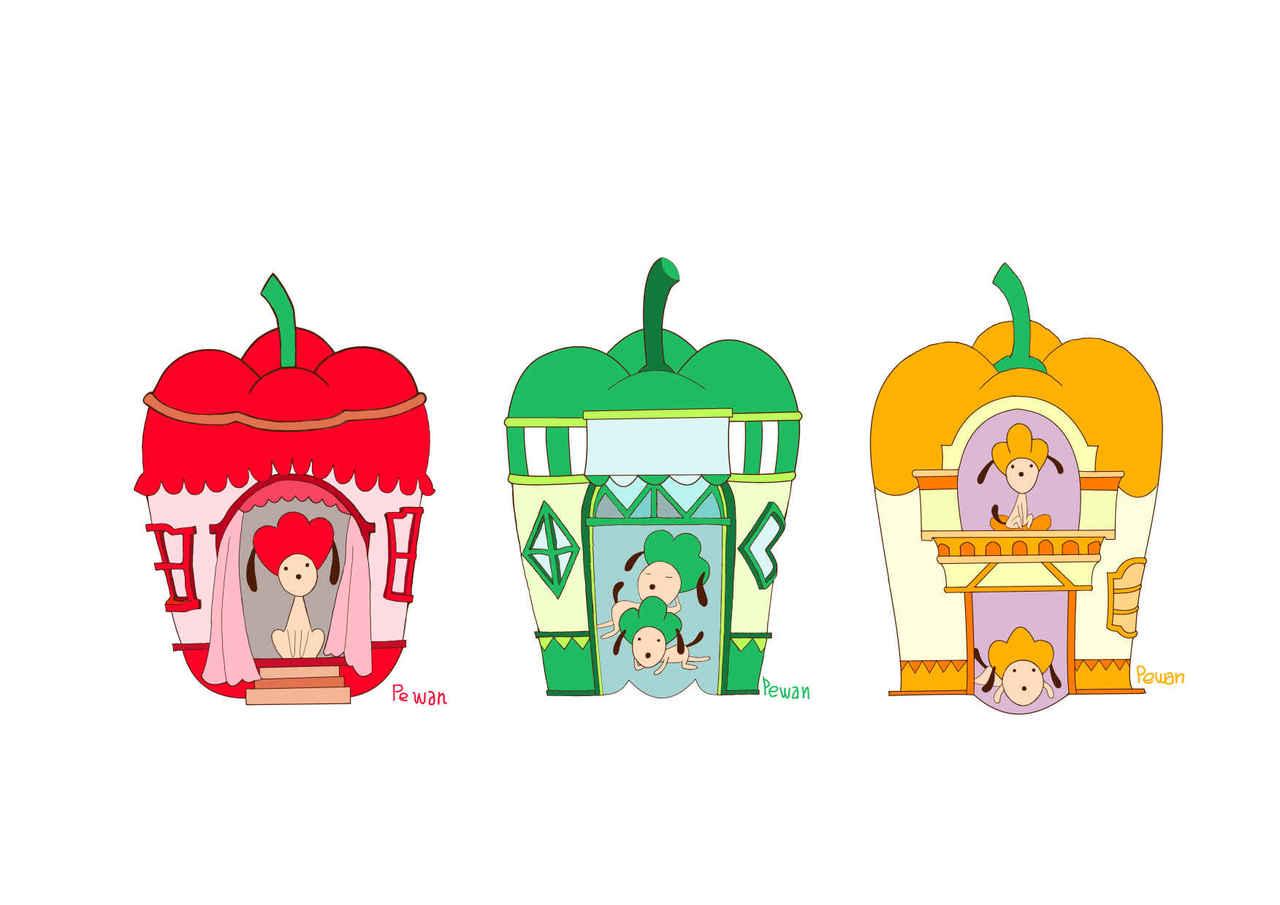 ☺ピーわン Illust of beach st 癒し系 animal パプリカ ピーマン ペット dog マイホーム シグナルカラー character