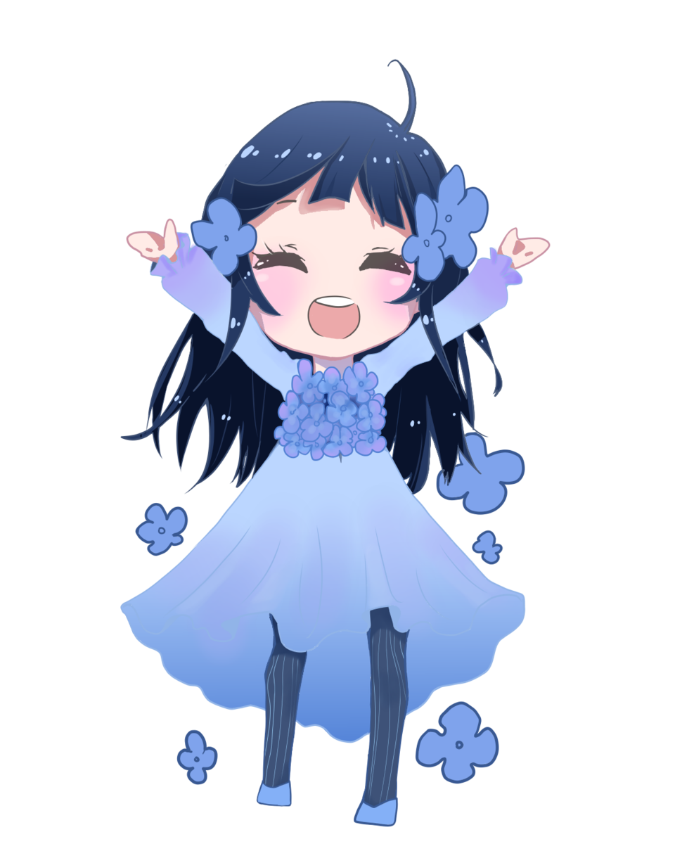 Hydrangea Illust of Nass blue cute girl flower