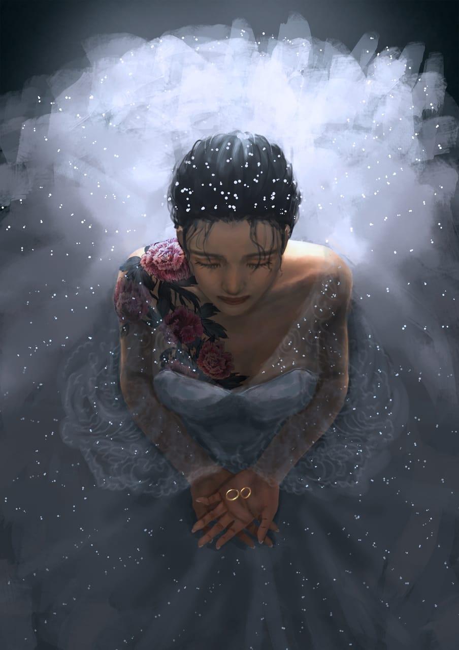 ●tattoo:peony-牡丹 Illust of CHI-NAI MySecretSocietyContest April2021_Flower January2021_Contest:OC woman girl flower original illustration dress