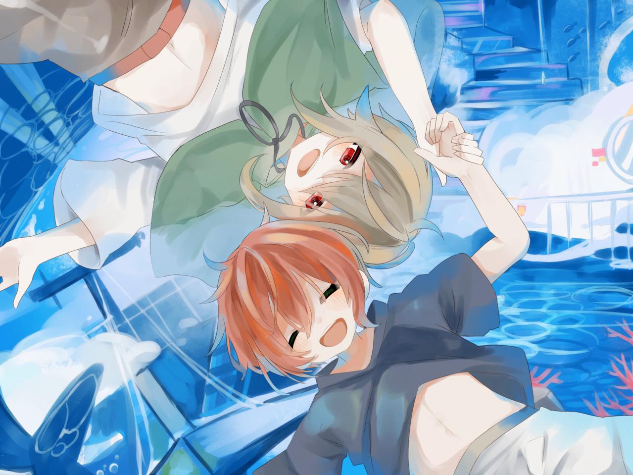 嗚呼 Illust of すい 友情 青春 sea original blue boy
