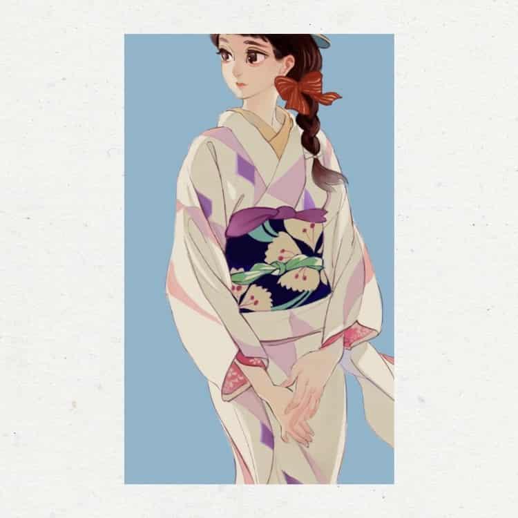 临摹练习 Illust of RubyPikachu June2020_Contest:Street_Art 模写 kimono girl