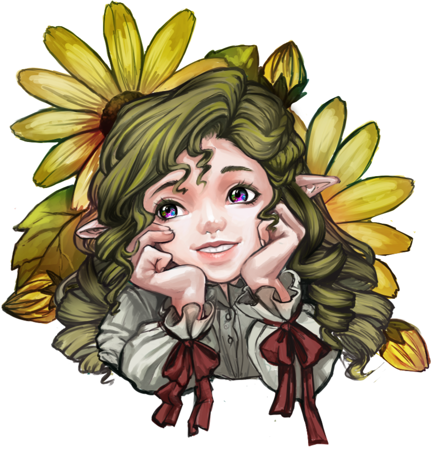 Flower hobbit girl Illust of 개암나무요정 April2021_Flower cutegirl greenhair curlyhair flower Hobbit