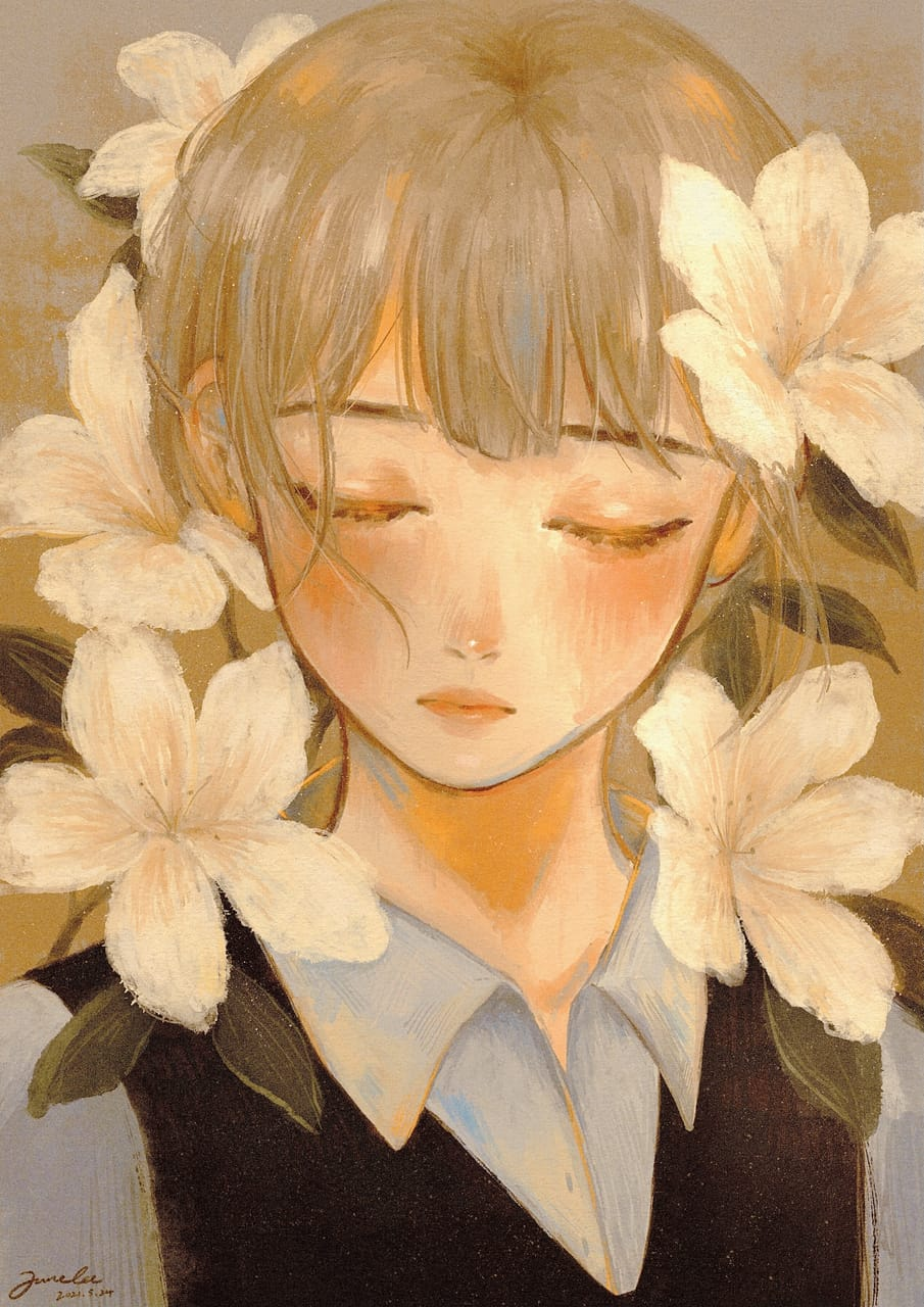 Lily and the boy 花與少年 Illust of JuneLee April2021_Flower digital painting boy art
