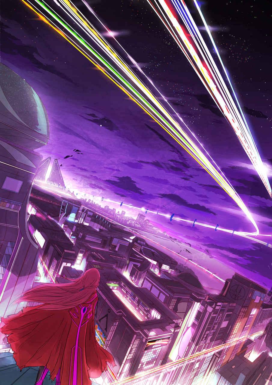 The City Illust of NovianT fantasy sci-fi original illustration red-hair