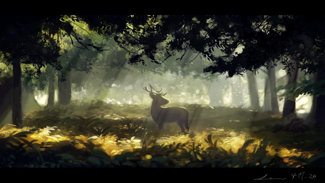みちびき Illust of 星灯れぬ 鹿 forest scenery 木漏れ日 animal 風景画 模写