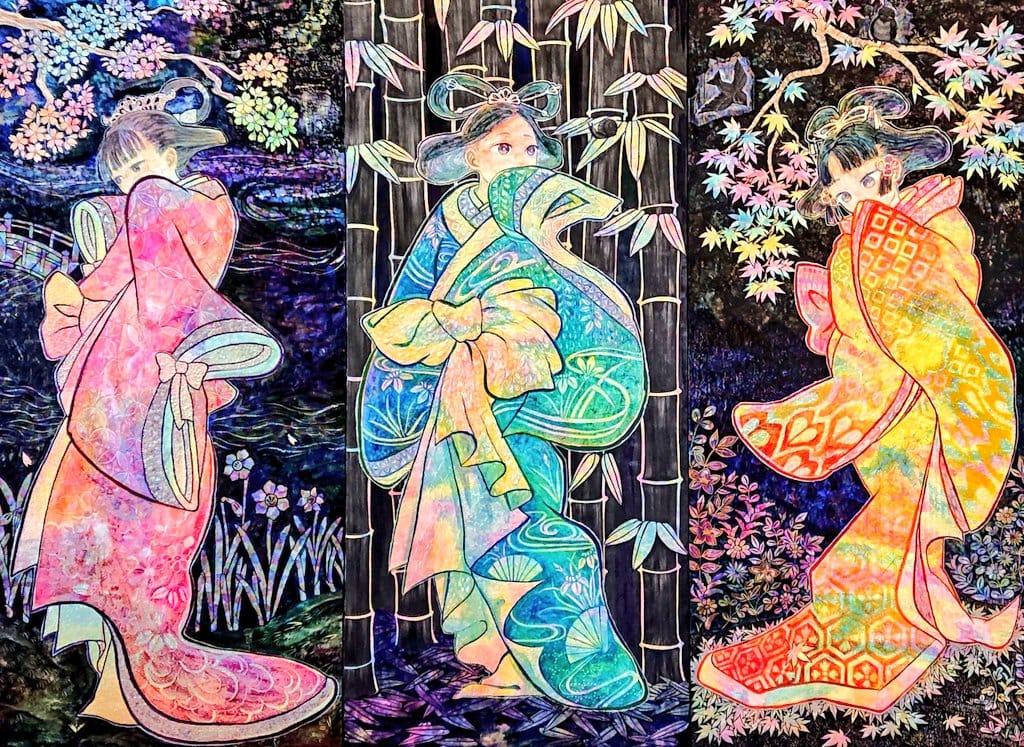 夜光衣 Illust of ゆずあり black sakura kimono flower 紅葉 girl 竹