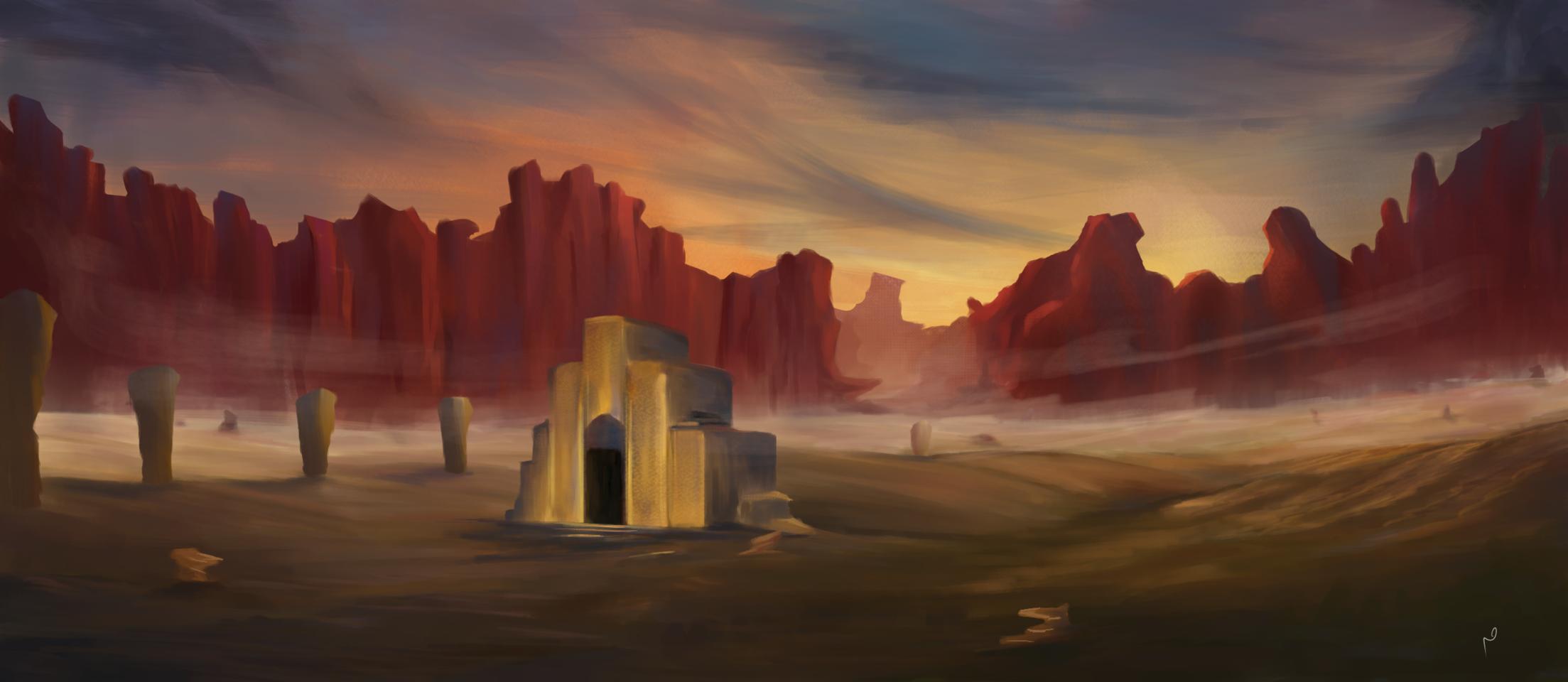 temple and desert Illust of Meaadhusl medibangpaint scenery art environment landscapes