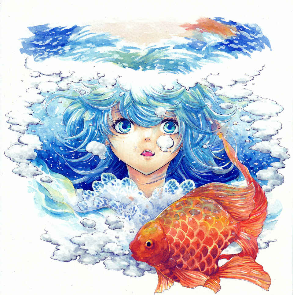 GOLDFISH Illust of 銀甫 MCPOAwardIllustrationSection water illustration 泡泡 藍 goldfish 夏天