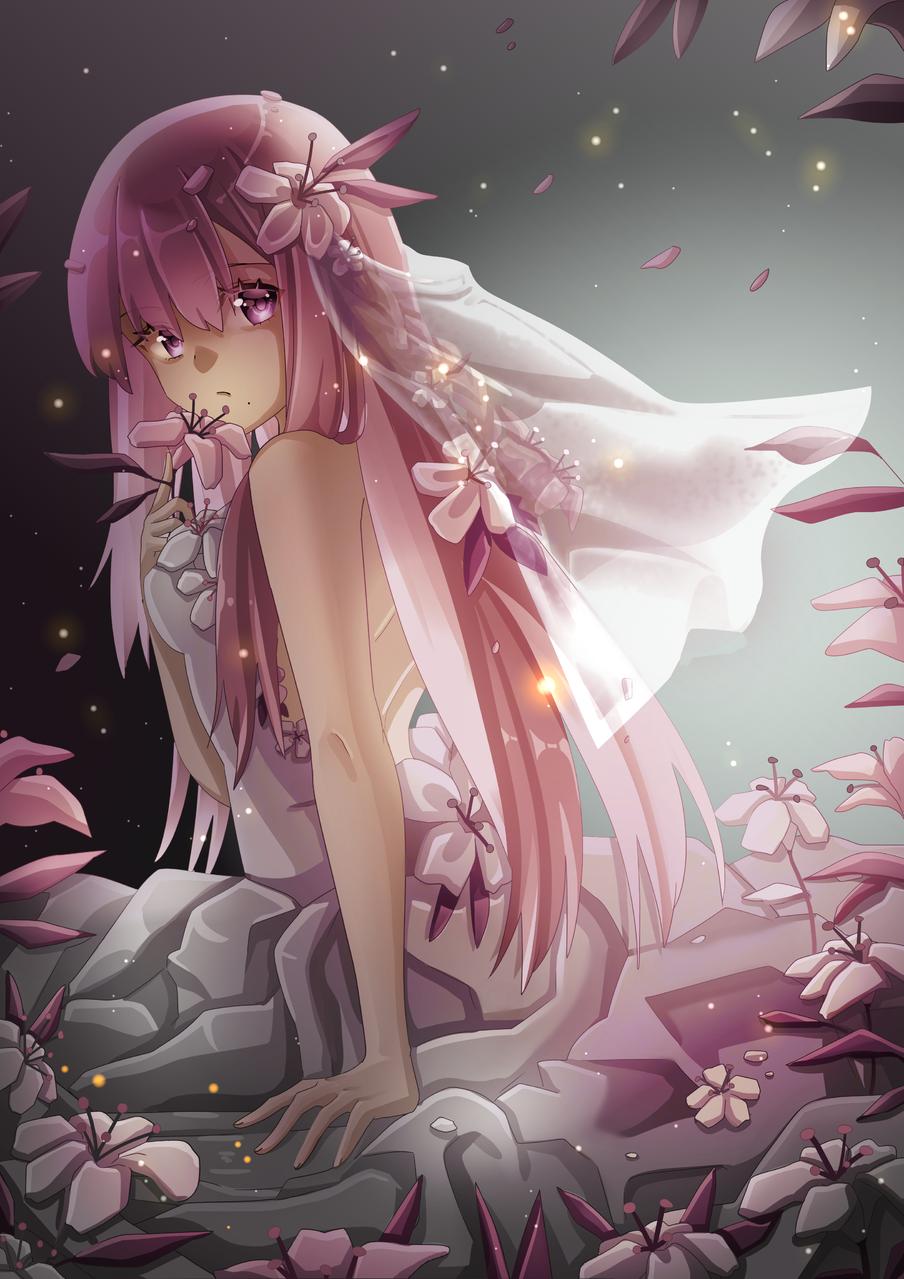 flowers Illust of Akira Luca April2021_Flower illustration lighting girl flower medibangpaint pink drawing longhair digital cute
