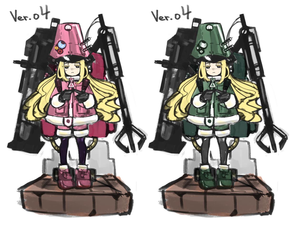 委託 戦争ガール Illust of 橋本正義 pink 無口 girl 機械 blonde character 立ち絵 characterdesign oc original