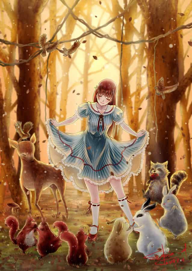 一緒に踊りませんか? Illust of Sylvia_M Sep.2019Contest girl forest autumn animal 季節