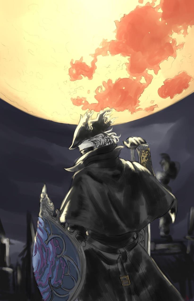 Hunter's Moon Illust of Manalodia horror illustration Fromsoftware fanart TheHunter videogame digital moon lovecraftian Bloodborne