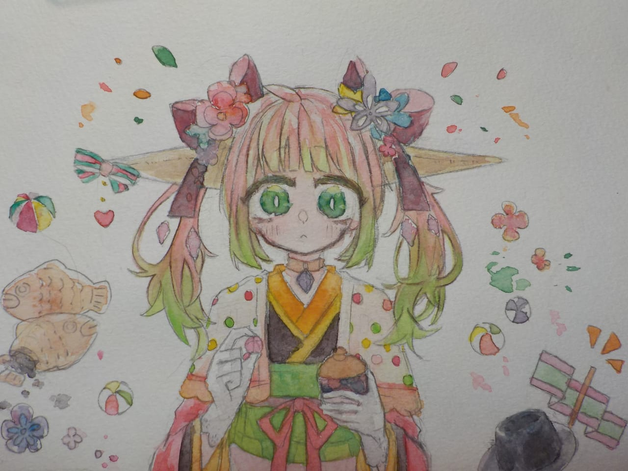 桃と和菓子と子猫の日 Illust of めだまやき#テスト\(^o^)/オワタ アナログ angel kawaii watercolor kimono ひな祭り oc