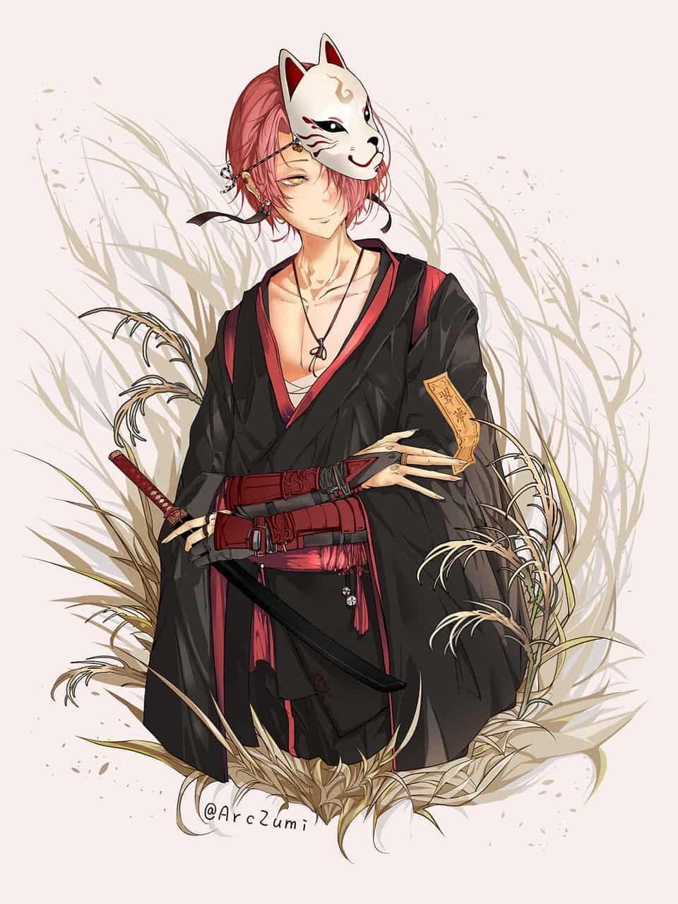 花と少年-翠夢 Illust of ArcZumi 狐面 kimono 武士刀 boy 紅髮