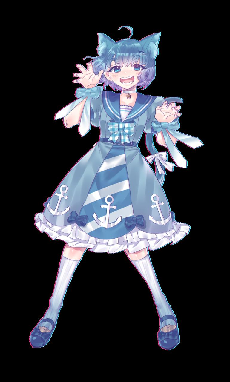海の猫ちゃん Illust of 当間羽海 blue cat animal_ears character girl sea original